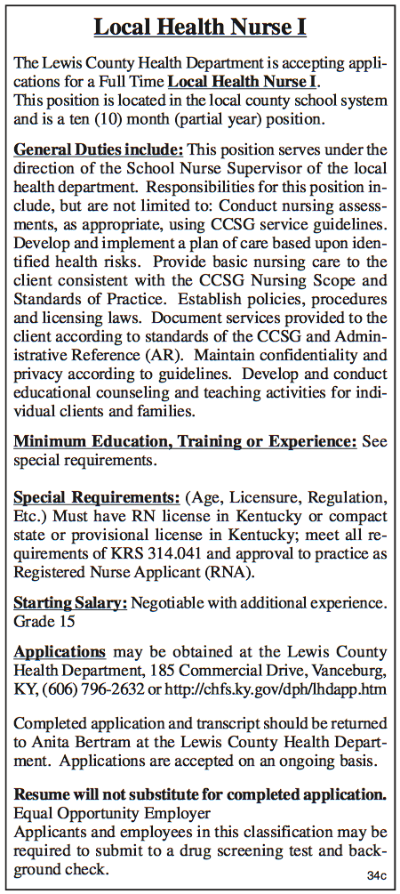 Lewis County Health Department, Local Health Nurse I, Accepting Applications