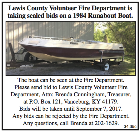 Lewis County Volunteer Fire Department, 1984 Runabout Boat, Surplus Property