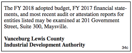 Vanceburg Lewis County Industrial Development Authority, 2018 Budget, 2017 Financial Statements, Available for Examination