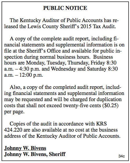 Public Notice, Lewis County Sheriff's 2015 Tax Audit
