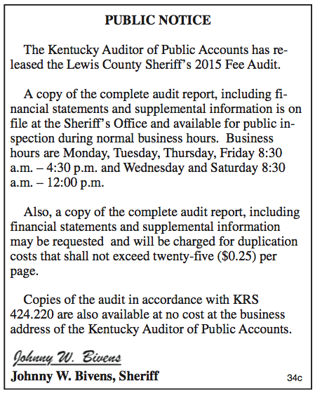 Public Notice, Lewis County Sheriff's 2015 Fee Audit