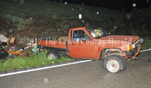 Authorities are looking for the driver of this Toyota pick-up following an accident early this morning on Ky. Rt. 8 east of Vanceburg. A passing motorist reported the accident but the operator of the vehicle could not be located. - Dennis Brown Photo