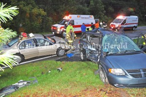 Four people were injured Friday evening when these two vehicles collided on Ky. Rt. 8 at Quincy Curve. The accident is under investigation by Deputy Bryon Walker. - Dennis Brown Photo.