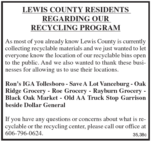 Notice, Lewis County Recycling Program