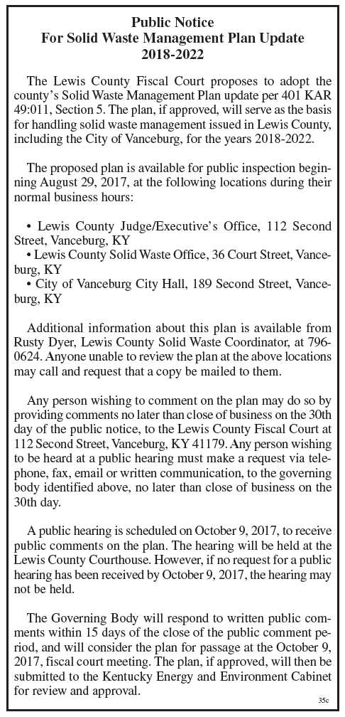 Public Notice, Solid Waste Management Plan Update, Lewis County Fiscal Court