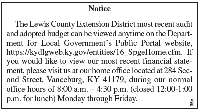 Notice, Lewis County Extension District, Audit available for inspection