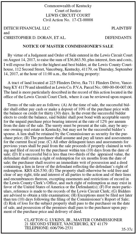 Notice of Master Commissioner's Sale, Ditech Financial LLC and Christopher D Doran et al