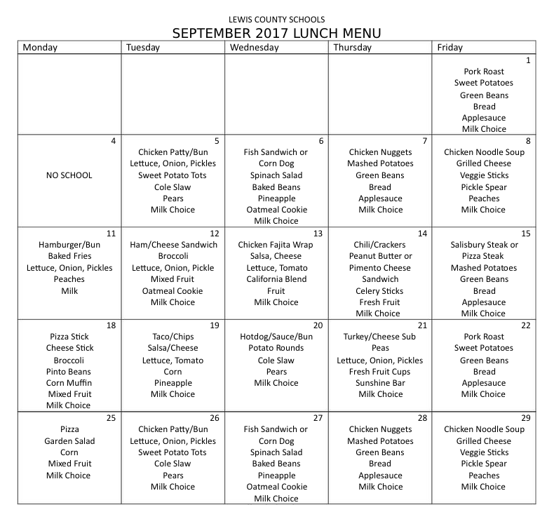 September 2017 Lunch Menu