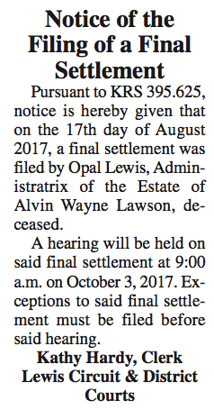 Notice of the Filing of a Final Settlement, Estate of Alvin Wayne Lawson