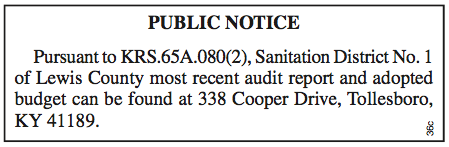 Public Notice, Sanitation District 1 of Lewis County, Audit Report Available for Inspection