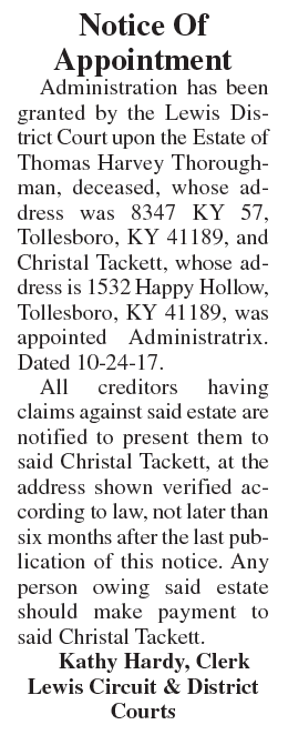 Notice of Appointment, Estate of Thomas Harvey Thoroughman