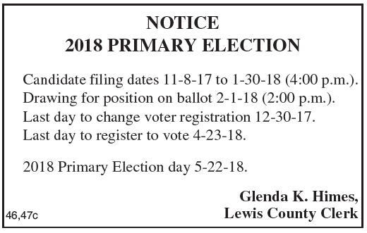 Candidate Filing Dates for 2018 Primary Election