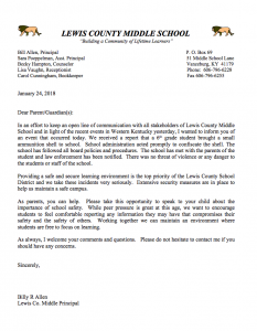 Letter to parents from LCMS Principal Bill Allen.