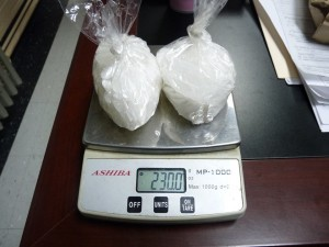 Lewis County officials seized 230 grams of crystal meth, also known as ice, Saturday night. The larges such seizure in Lewis County to date.