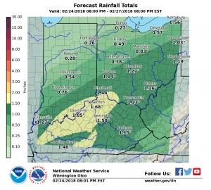 Predicted local rainfall amounts have been reduced.