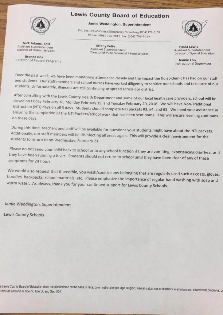 A copy of the letter from Superintendent Jamie Weddington to parents and guardians.
