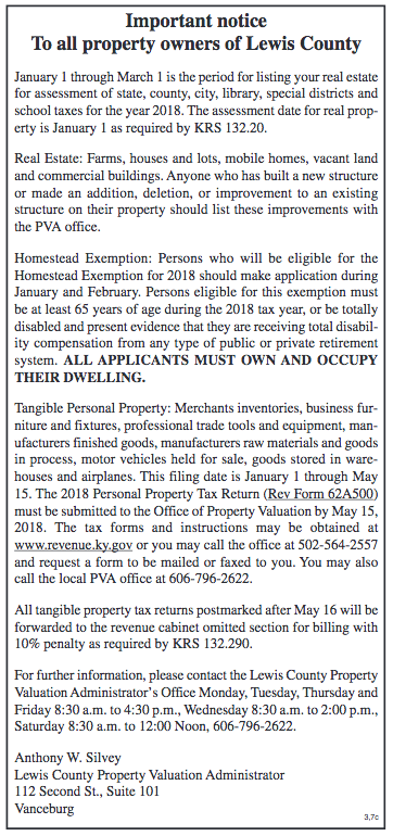 Notice to Property Owners, Lewis County PVA Anthony Silvey