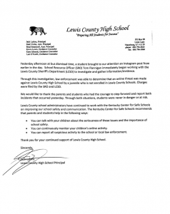 A letter from LCHS Principal Jack Lykins concerning an online threat and the resulting response.