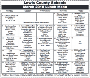 Lewis County Schools, March 2018 Lunch Menu