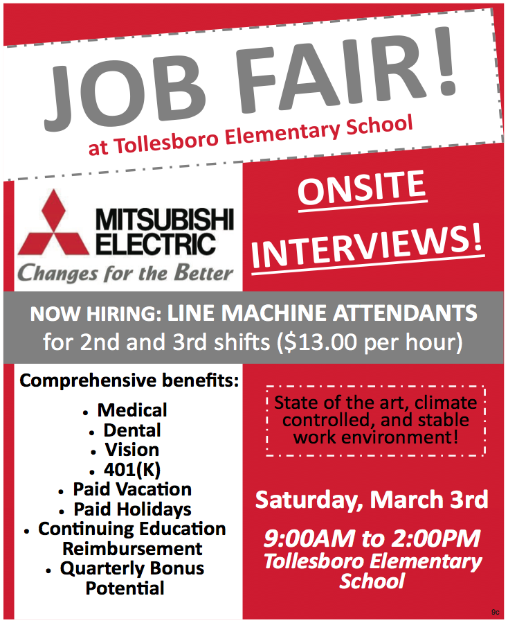 Job Fair, Mitsubishi Electric, Tollesboro Elementary