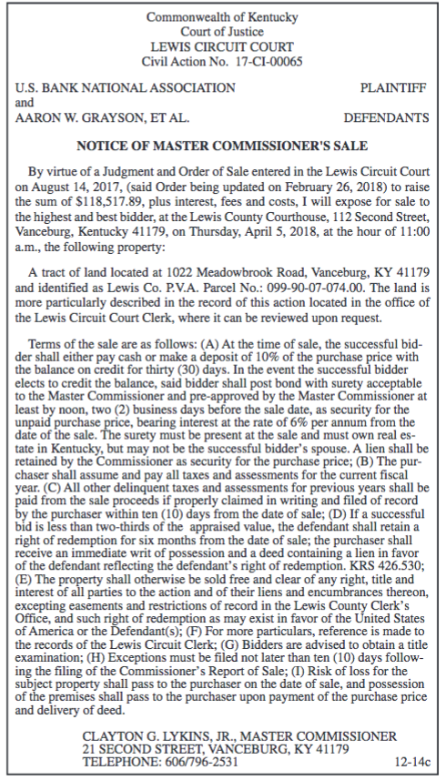 Notice of Master Commissioner's Sale, US Bank National Association, Aaron W Grayson et al