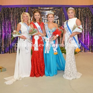 (L-R) Miss Congeniality Blair Cupps of Burlington, Second Runner-Up Whitney Cornette of Vanceburg, Miss Tollesboro Lions Club Fair Jordan Ray of Carrollton, and First Runner-Up and Pat Harris Award Winner Brooklyn Browning of Butler. - Dennis Brown Photo