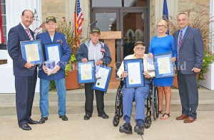 Surviving WWII Veterans honored on Patriot Day. Pictured, left to right, are State Representative Rocky Adkins, Mart Dummitt, Forrest Cooper, Hank McCane, WoodmenLife Representative Shirley Williams, and Judge Executive Todd Ruckel. - Dennis Brown Photo