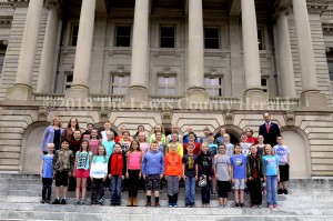 Tollesboro Elementary students visit Rep. Rocky Adkins in Frankfort.