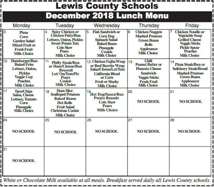 Lewis County Schools December 2018 Menu