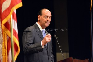 Rocky Adkins makes a point as he announces his run for governor in Morehead. - Dennis Brown Photo