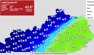 Kentucky Mesonet monitoring sites across the state show the range of temperatures as the winter storm advances.