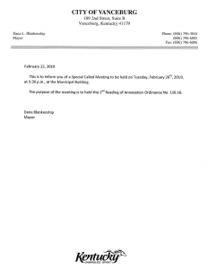 Vanceburg City Council special meeting notice