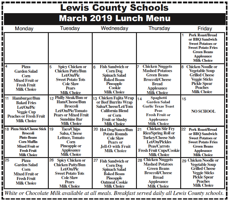 Lewis County Schools March 2019 Lunch Menu