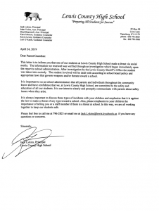 Letter from LCHS Principal Jack Lykins